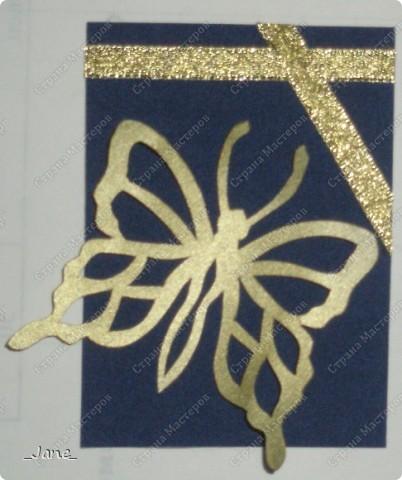 Все вместе. Бабочки вырезаны и покрыты золотой краской. Фон - темно-синяя бархатная бумага. фото 8