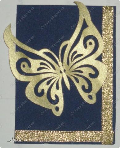 Все вместе. Бабочки вырезаны и покрыты золотой краской. Фон - темно-синяя бархатная бумага. фото 9
