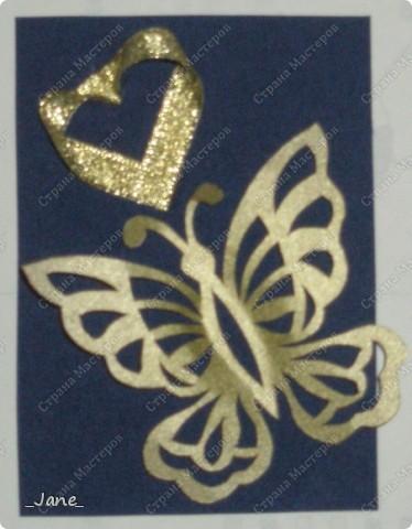 Все вместе. Бабочки вырезаны и покрыты золотой краской. Фон - темно-синяя бархатная бумага. фото 10