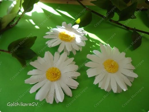 Сделала несколько кусудам  по МК, одну из них электру, автор  David Mitchell, которую рекомендуют использовать как основу под цветы.  Решила, что в ней, непременно, должны быть ромашки, я их очень люблю.  фото 2