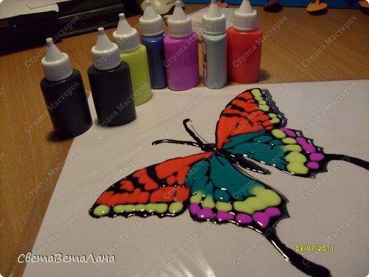 .........рассказ пойдет не о бабочках......мастер-классов о них у нас в Стране Мастеров достаточно......а вот что делать , когда у вас нет ( кончились) витражные краски......или в магазин их не завезли............ фото 1