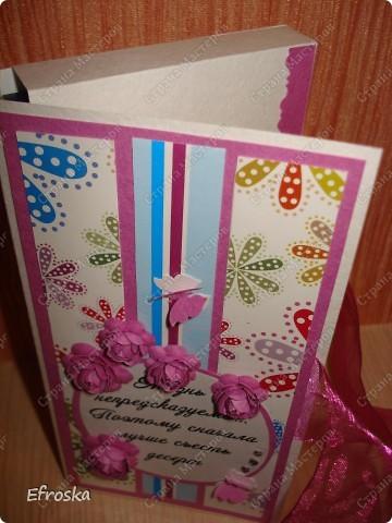 Сегодня хочу поделиться открыточкой и шоколадницей. Сразу два события в один день: крещение племянницы и день рождения у подруги. фото 9