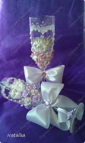 Делала бокалы под впечатлением работ Саровочки. Надеюсь невесте они понравятся. фото 5