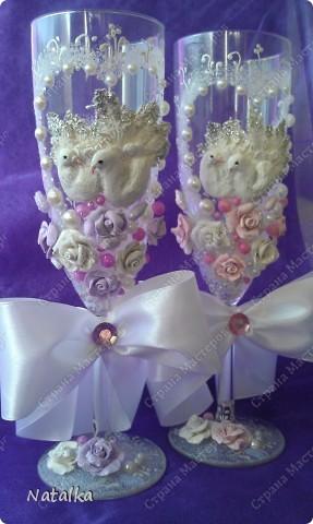 Делала бокалы под впечатлением работ Саровочки. Надеюсь невесте они понравятся. фото 3