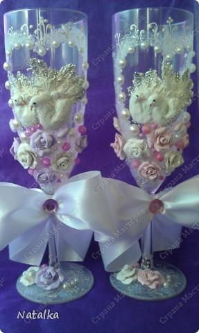 Делала бокалы под впечатлением работ Саровочки. Надеюсь невесте они понравятся. фото 2