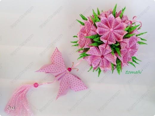 всем доброго утра,дня и ночи! я опять с кусудамами), насобиралось немного Name: Little Roses  Designer: Maria Sinayskaya Parts:30 Paper: 4*8 cm  фото 10