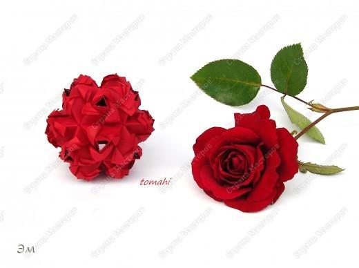 всем доброго утра,дня и ночи! я опять с кусудамами), насобиралось немного Name: Little Roses  Designer: Maria Sinayskaya Parts:30 Paper: 4*8 cm  фото 5