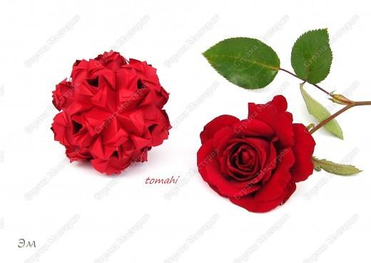 всем доброго утра,дня и ночи! я опять с кусудамами), насобиралось немного Name: Little Roses  Designer: Maria Sinayskaya Parts:30 Paper: 4*8 cm  фото 4