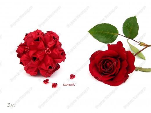 всем доброго утра,дня и ночи! я опять с кусудамами), насобиралось немного Name: Little Roses  Designer: Maria Sinayskaya Parts:30 Paper: 4*8 cm  фото 6