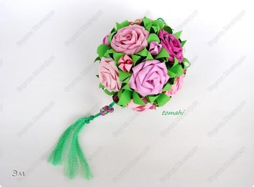 всем доброго утра,дня и ночи! я опять с кусудамами), насобиралось немного Name: Little Roses  Designer: Maria Sinayskaya Parts:30 Paper: 4*8 cm  фото 7