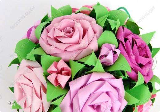 всем доброго утра,дня и ночи! я опять с кусудамами), насобиралось немного Name: Little Roses  Designer: Maria Sinayskaya Parts:30 Paper: 4*8 cm  фото 9
