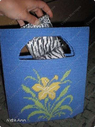 Сегодня я расскажу как можно сделать такую сумку из пластиковой канвы. Нам понадобиться два листа пластиковой канвы, нитки, иголки, ножницы, маркер(для удобства).  фото 1