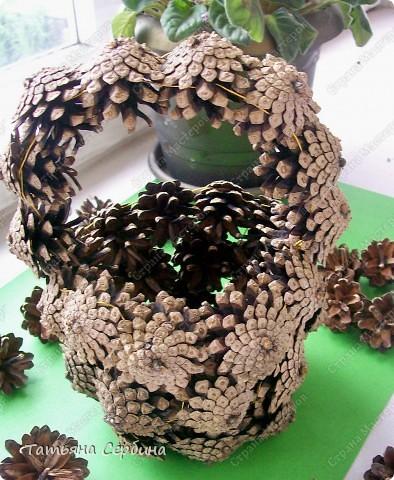 Корзина из сосновых шишек. фото 7