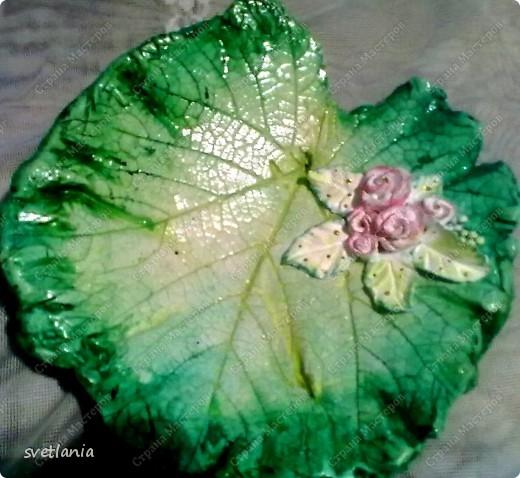 Листья с розами из гипса! фото 5
