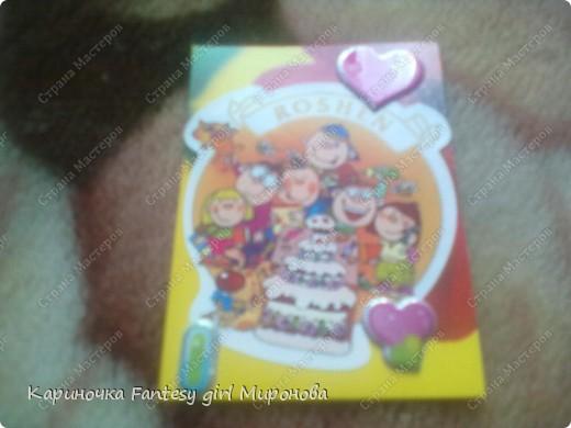 Здраствуйте!Сегодня я сделала серию моих любимых конфет Рошен!Ням-Ням!Если кому-то понравилась какая карточка,только скажите номер и адрес...и она ваша!!!=) фото 2