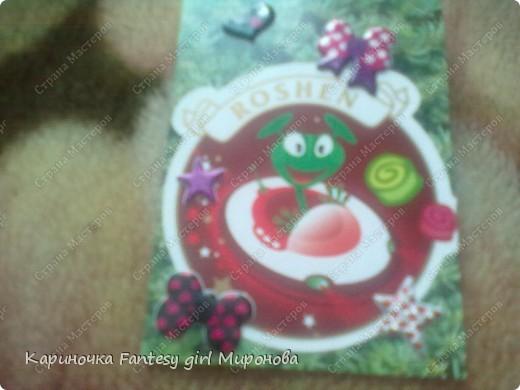 Здраствуйте!Сегодня я сделала серию моих любимых конфет Рошен!Ням-Ням!Если кому-то понравилась какая карточка,только скажите номер и адрес...и она ваша!!!=) фото 3
