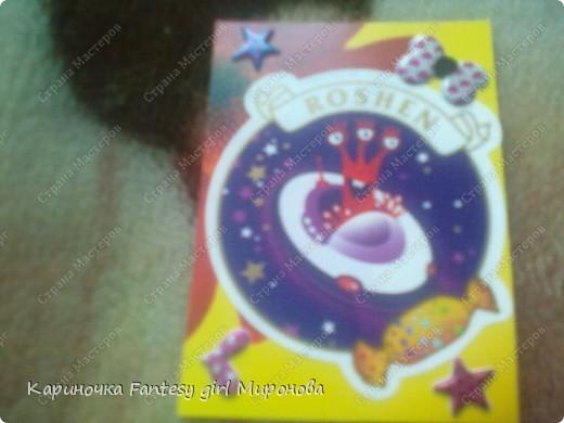 Здраствуйте!Сегодня я сделала серию моих любимых конфет Рошен!Ням-Ням!Если кому-то понравилась какая карточка,только скажите номер и адрес...и она ваша!!!=) фото 4