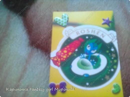 Здраствуйте!Сегодня я сделала серию моих любимых конфет Рошен!Ням-Ням!Если кому-то понравилась какая карточка,только скажите номер и адрес...и она ваша!!!=) фото 5