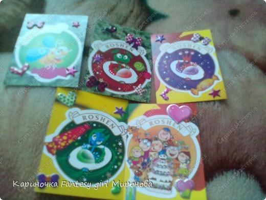 Здраствуйте!Сегодня я сделала серию моих любимых конфет Рошен!Ням-Ням!Если кому-то понравилась какая карточка,только скажите номер и адрес...и она ваша!!!=) фото 1