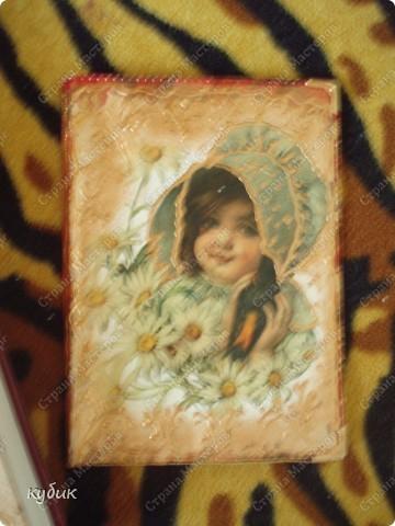решила сделать себе вот такие блокнои и обложку, использовала подарок-декупажную карту и оформила  контуром:))Огромное спасибо Анфисик за декупажную карту!!!!!!!!!!!!!! фото 3