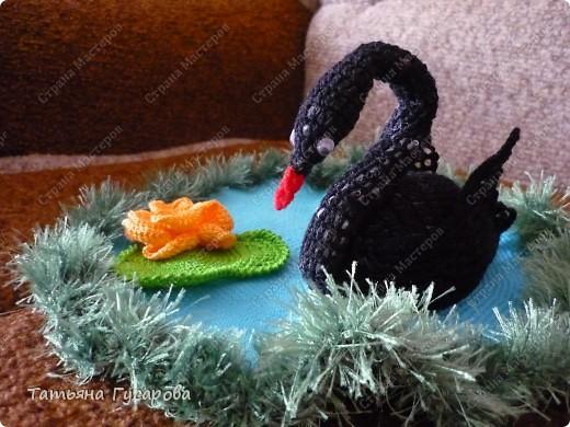 Лебедь на пруду фото 1