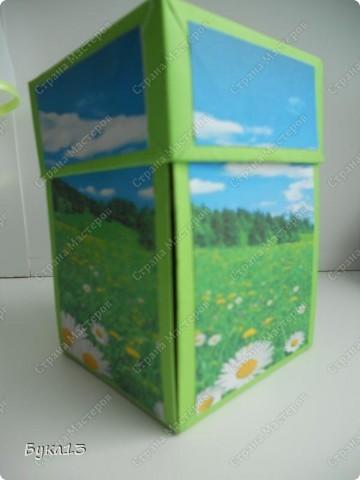 Сделала коробочку в подарок на день рождения сестре. Коробочка сделана по МК http://www.liveinternet.ru/users/pawy/post136538233/  Размеры изменила. Коробочка получилась, на мой взгляд, большевата: 8Х8Х12 см. фото 1
