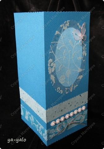 Целых две!!!! открытки нелюбимого мною синего цвета)))) Только сейчас заметила, что в наборе индийской бумаги преобладают сине-голубые цвета)))), которые я не очень жалую))) Но здесь они в сочетании с синей бумагой для пастели смотрятся замечательно  фото 2