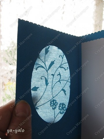 Целых две!!!! открытки нелюбимого мною синего цвета)))) Только сейчас заметила, что в наборе индийской бумаги преобладают сине-голубые цвета)))), которые я не очень жалую))) Но здесь они в сочетании с синей бумагой для пастели смотрятся замечательно  фото 4