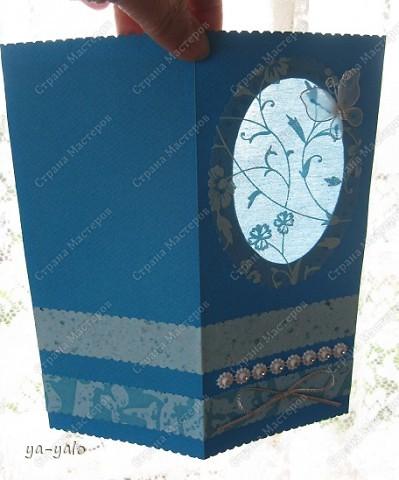 Целых две!!!! открытки нелюбимого мною синего цвета)))) Только сейчас заметила, что в наборе индийской бумаги преобладают сине-голубые цвета)))), которые я не очень жалую))) Но здесь они в сочетании с синей бумагой для пастели смотрятся замечательно  фото 3