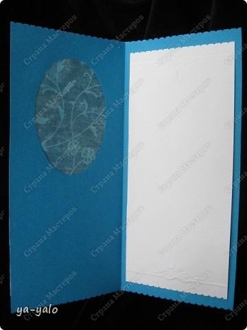 Целых две!!!! открытки нелюбимого мною синего цвета)))) Только сейчас заметила, что в наборе индийской бумаги преобладают сине-голубые цвета)))), которые я не очень жалую))) Но здесь они в сочетании с синей бумагой для пастели смотрятся замечательно  фото 10