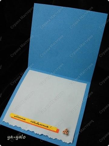 Целых две!!!! открытки нелюбимого мною синего цвета)))) Только сейчас заметила, что в наборе индийской бумаги преобладают сине-голубые цвета)))), которые я не очень жалую))) Но здесь они в сочетании с синей бумагой для пастели смотрятся замечательно  фото 18