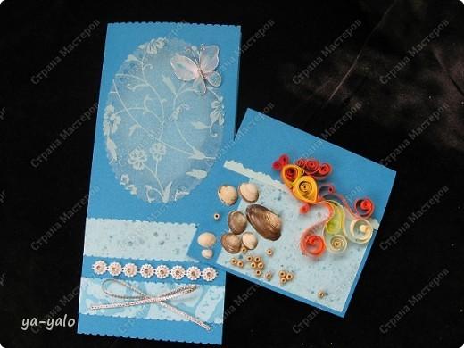 Целых две!!!! открытки нелюбимого мною синего цвета)))) Только сейчас заметила, что в наборе индийской бумаги преобладают сине-голубые цвета)))), которые я не очень жалую))) Но здесь они в сочетании с синей бумагой для пастели смотрятся замечательно  фото 19