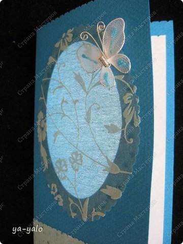 Целых две!!!! открытки нелюбимого мною синего цвета)))) Только сейчас заметила, что в наборе индийской бумаги преобладают сине-голубые цвета)))), которые я не очень жалую))) Но здесь они в сочетании с синей бумагой для пастели смотрятся замечательно  фото 6