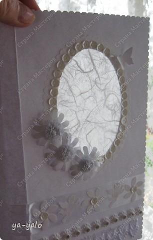 Эту белую открытку делала собственно из-за окошечка с этой бумажкой. Она уже из другого набора, тоже подаренного сестрой)))) - французского (так на обложке написано))) фото 4