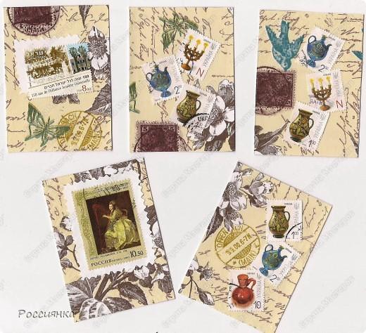 Уже и конверты использовали и марки были, но вот собралось у меня некоторое количество марок с присланных вами конвертов и нашлась симпатичная салфеточка. Получилась вот такая серия. Дизайн довольно лаконичный, но при попытке что-то добавить из декора - не понравилось, оставила так. В серии пока 10 карточек, по мере появления материала появятся еще четыре, именно 14 карточек у меня получается из салфетки 33х33. Кредиторы: ЛеНкина, bagira1965, Сургутяночка-2, _Jane_, Дерябина Вера, ЛЮБОВЬ ВОЛОГДА, Некрасова Юлия, Оленьки, bibka. Девочки, кто ждет другую серию - отпишитесь, пожалуйста. Жду вас до завтра до 9.00 по Москве. фото 2