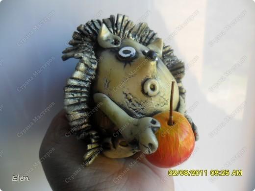 Соседка попросила сделать ежика и яблоки в одной картинке,яблочки остались от прежнеих картинок,а вот ежика сделала из хф фото 2