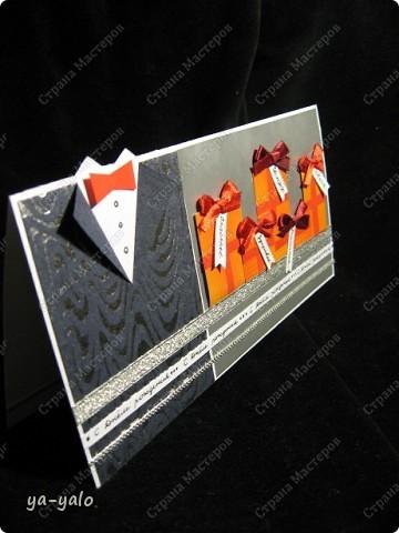 Да..... Мужские открытки - это нечто из разряда высшей категории сложности. Вариантов - раз-два и обчелся. Бумаги подходящей мало. Цветовые решения ограничены. Но раз надо, значит - НАДО! (попросили сделать мужскую) фото 1
