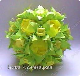 Добрй день, Страна! Сегодня показываю свой второй букетик! В основе кусудама Элетра, в маленьких дырочках электры бутончики, сделанные, как Ирис, в больших дырочках Розы Кавасаки. Спасибо Валентине Минаевой за вдохновение! Ее работа: http://stranamasterov.ru/node/220029?c=favusers фото 2