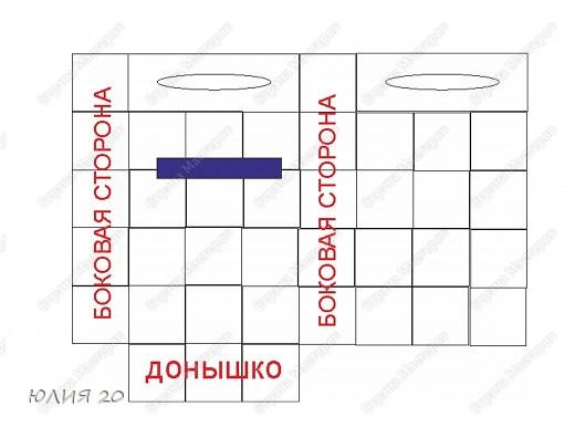 Еще одна оригинальная сумочка связанная по мотивам (http://stranamasterov.ru/node/60153)только не много переделанная на свой вкус.  Для начала вам понадобится:  1) Искусственная  кожа, клеенка, или что-то плотнее ткани.Количество зависит от вашей сумки ( какова ее высота, длина, ширина)  2) Крючок 1,3мм  3) Замок  4) Плотная пленка, картон, и т.п.(для ручек)  5) Подкладочная ткань  6)Дырокол   Нарезаем материал на квадратики 7х7 см.и делаем дырочки дыроколом, по 4 на каждой стороне квадрата. Подробнее см МК (http://stranamasterov.ru/node/60153) фото 4