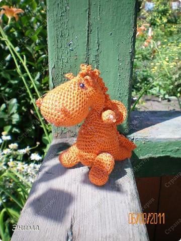 Теперь и у меня живет крошка-дракошка. Создавался на саду, дождливым днём из подручных материалов. Бабуля дала хорошие нитки, крючок и бусины нашла в сумке, описание как вязать было записано в ежедневнике.  фото 1