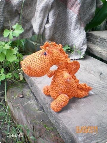 Теперь и у меня живет крошка-дракошка. Создавался на саду, дождливым днём из подручных материалов. Бабуля дала хорошие нитки, крючок и бусины нашла в сумке, описание как вязать было записано в ежедневнике.  фото 13