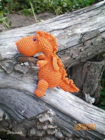 Теперь и у меня живет крошка-дракошка. Создавался на саду, дождливым днём из подручных материалов. Бабуля дала хорошие нитки, крючок и бусины нашла в сумке, описание как вязать было записано в ежедневнике.  фото 9