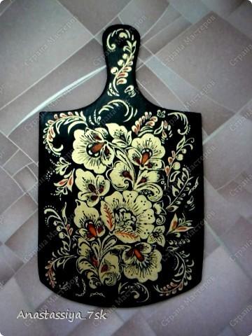 Досточка, росписанная под хохлому. Использованные краски: акриловые глянцевые. фото 1