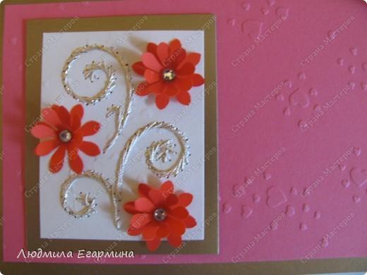 """Предлагаю сделать вот такую открытку """"С годовщиной свадьбы!"""". Для создания использовано 4 цвета: молочный, розовый, красный, золотой. фото 7"""