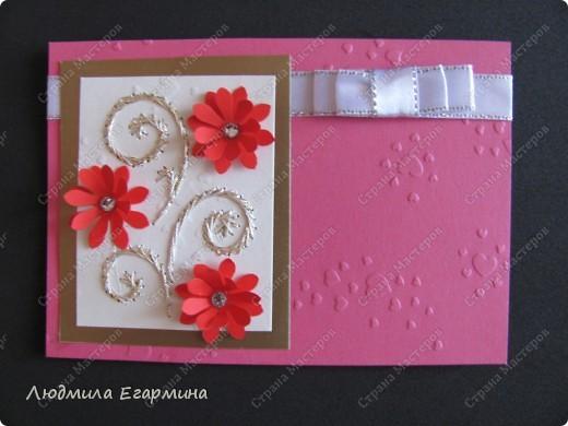 """Предлагаю сделать вот такую открытку """"С годовщиной свадьбы!"""". Для создания использовано 4 цвета: молочный, розовый, красный, золотой. фото 9"""