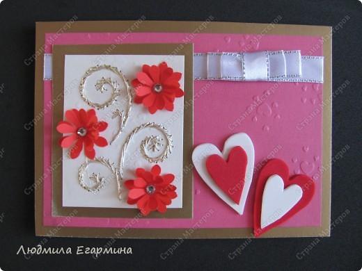 """Предлагаю сделать вот такую открытку """"С годовщиной свадьбы!"""". Для создания использовано 4 цвета: молочный, розовый, красный, золотой. фото 11"""