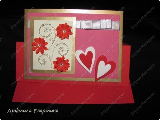 """Предлагаю сделать вот такую открытку """"С годовщиной свадьбы!"""". Для создания использовано 4 цвета: молочный, розовый, красный, золотой. фото 12"""