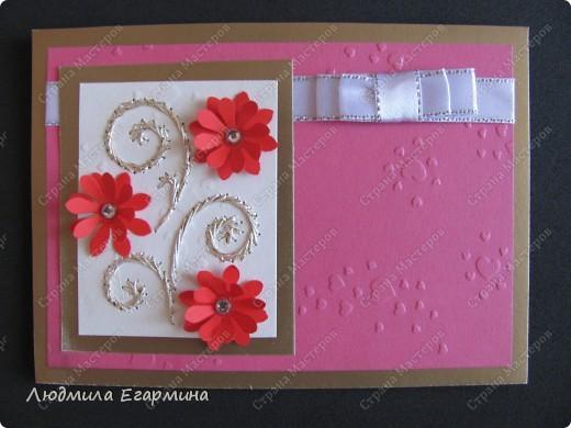 """Предлагаю сделать вот такую открытку """"С годовщиной свадьбы!"""". Для создания использовано 4 цвета: молочный, розовый, красный, золотой. фото 10"""