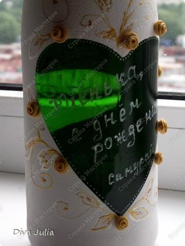 Бокалы пробные, с клеем не сложилось, видны следы (оставила их у себя, а бутылка была подарена на день рождение) фото 3
