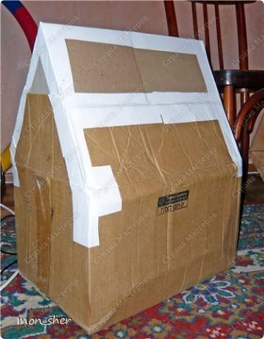 Стала замечать, что наш котик прячется спать в темные места, любит коробки. Пошли с мужем в магазин присмотреть домик, цены там нас сильно покусали))) В связи с чем было решено сделать самой. Главной задачей было, что бы внутри было темно. Вот такой домик мы будем делать! фото 4